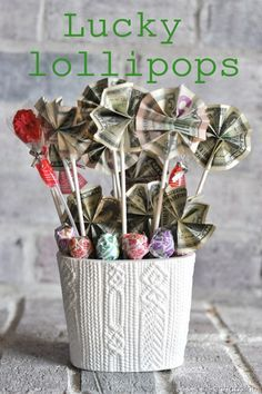 Lucky Lollipops ...this would be a fun gift idea for a teenager! #homemade #gifts