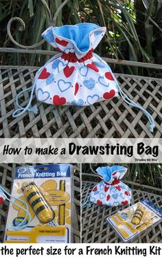 Make a Drawstring Bag that is the perfect size to hold a French knitting kit and a large skein of wool. This tutorial will show you how ~ Threading My Way