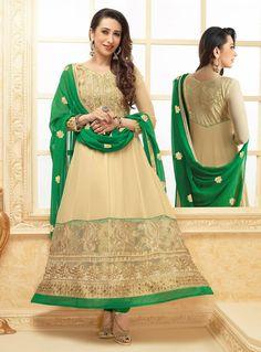 Karisma Kapoor Beige Net Anarkali Suit 87553