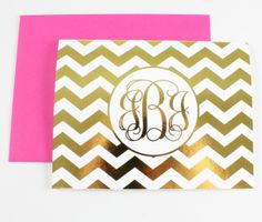 Chevron note cards in pink + gold
