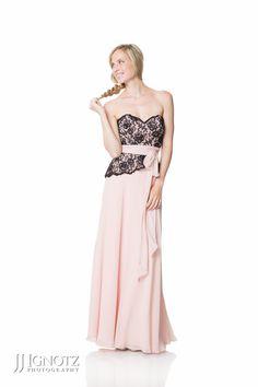 Bari Jay Fashions look book long, pink bridesmaid dress