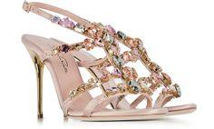 Oscar de la Renta Imogene Nude Satin w/Crystals High Heel Sandals 37 IT/EU at FORZIERI