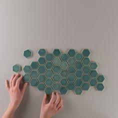 "2"" Hexagons in Sea Foam."