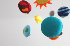Solar System Felt Mobile, Felt Outer Space Crib Mobile, Planets Mobile, The Sun & 9 Planets, Space baby boy mobile Mobiles For Kids, Mobile Kids, Boy Mobile, Crib Mobiles, Planet Mobile, 9 Planets, Felt Mobile, Baby Crib Mobile, Embroidery Thread