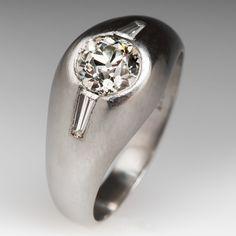 1 Carat Old Diamond Mens Platinum Ring