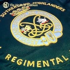 Over the years we have designed and produced a wide range of double sided hand embroidered bagpipe banners for clients around the world. Hand embroidered in gilt wires and silks on a fine blazer cloth and supplied to the Scottish regiments, Canadian Regiments USMC, USAF banners, Fire & Rescue, Police, civilian pipe bands, clan chiefs banners, private clients and British army.