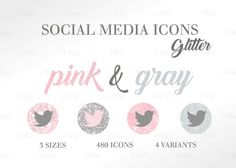 Social Media Icons Set Glitter Pink Gray Download Social Media Buttons, Social Media Icons, Pink Grey, Gray, Icon Set, Place Card Holders, Glitter, Website, Blog
