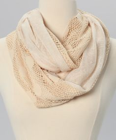 Off White Crocheted Infinity Scarf