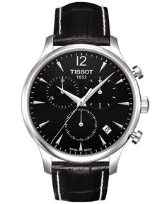 Tissot Watch, Men's Swiss Chronograph Tradition Black Leather Strap T0636171605700