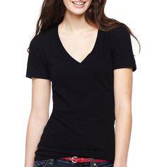 17c3c8c065 Arizona Short-Sleeve Solid V-Neck T-Shirt Black featuring polyvore women s  fashion