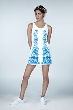 Primavera Tennis Dress from Ivincia featuring limited edition printed textiles. Textile Prints, Textile Design, Floral Prints, Tennis Dress, Tennis Clothes, Technical Textiles, Professional Tennis Players, Independent Women, Dress Making