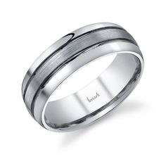 14kt white gold men's wedding band with Black Rhodium grooves