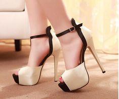 2015 New Fashion Women Pumps Peep Toe Sandals Beige PU Platform High Heels Plus Size Wedding Shoes 14cm Height