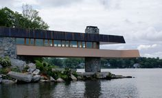 The Massaro House on Petra Island, cantilevering over Lake Mahopac, NY - designed by Frank Lloyd Wright., built in 2008.