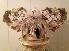 Rustic Handmade LIVE WISH DREAM Golden Wedding Couple Decoration by cappelloscreations, $60.00 @Etsy