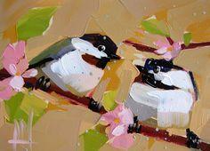 Two Chickadees no. 103 original bird oil painting by prattcreekart