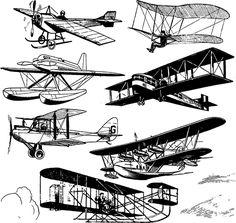 aviones antiguos - clipart