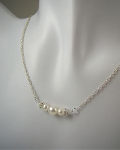 Bridesmaid Gifts Pearl Necklace Wedding by ShinyLittleBlessings, $28.00
