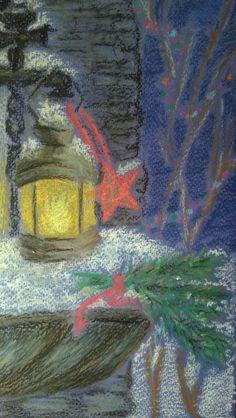 Рисунок масляной пастелью, Новый год