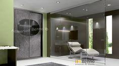 Serie Elite 120 - Perfil Acero Panel Tablero especial piedra Oceangreen incrustacion espejo gris