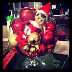 Elf on the Shelf - hiding in a bowl of ornaments
