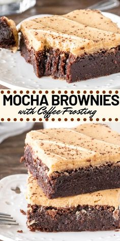 Mocha Brownies have a delicious coffee flavor and coffee frosting on top. Perfectly fudgy and perfect for coffee lovers!These Mocha Brownies have a delicious coffee flavor and coffee frosting on top. Perfectly fudgy and perfect for coffee lovers! Brownie Toppings, Brownie Recipes, Brownie Ideas, Brownie Desserts, Easy Desserts, Dessert Recipes, Frosting Recipes, Homemade Frosting, Coffee Frosting Recipe