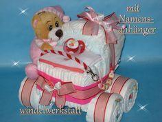 Windelkinderwagen + Namensanhänger Windeltorte 246