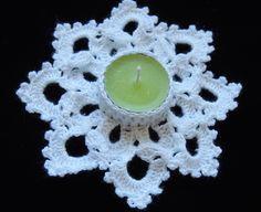 Decorativo portavela realizado en Crochet para adornar la mesa Navideña.  Parte 1 de 2