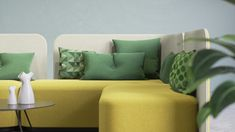 Green and yellow upholstery on the NEW PodLounge sofa. Interior design furniture by Martela. Interior Concept, Interior Design, Sofa Design, Furniture Design, Space Dividers, Contract Furniture, Modular Sofa, Sofa Chair, Small Spaces