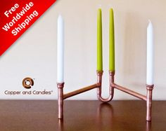 Copper Candle Holder Steampunk Industrial Contemporary Art Deo Modern Copper Candle Holder