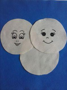 Carinhas para bonecas em feltro 12 cm estampadas em silk (par,frente e costas).Pacote com 3 unidades.