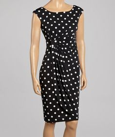 Love this Black & White Polka Dot Gathered Scoop Neck Dress by Connected Apparel on #zulily! #zulilyfinds