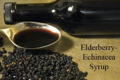 Elderberries, echinacea, ginger root, cinnamon, honey Syrup.  Keep this in your fridge, tightly covered, for up to two months, and take it when you feel like you need it. take 2-3 teaspoons a day at the first sign of a cough, cold, or icky feeling.