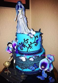 "Tim Burton's ""Corpse Bride""Birthday Cake with edible lace and butterflies"