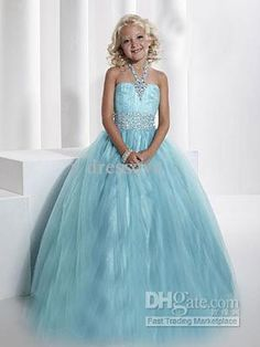 Wholesale Pageant Dresses - Buy Stylized Straight Across Halter Straps Neckline Beads Sequins Flower Girl Party Prom Girl's Pageant Dresses ...