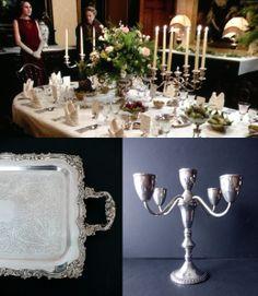 Downton Abbey Tableware Dinnerware Bridal Shower Table Arrangement Vintage Antique Silverware