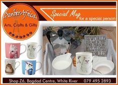 We have a selection of gorgeous mugs perfect as a gift for someone special. Come visit our store to see everything we have to offer, or you can visit our website for more information. Bagdad, Africa Art, African Textiles, Stone Sculpture, Soapstone, Fabric Bags, Special Person, Craft Gifts, Tablerunners