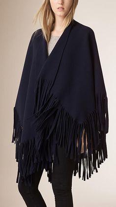 Azul-marinho Poncho de cashmere e de feltro de lã com franjas - Imagem 1