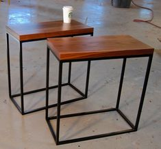 Skinny walnut and square tube side tables | Bjorling Grant