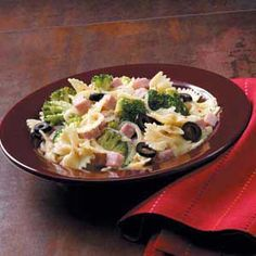Spicy Ham and Broccoli Pasta - left out the onions and substituted a store-bought garlic vinaigrette for the olive oil and Italian seasons.  Super easy weeknight dinner!