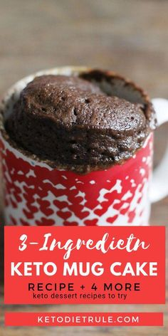 Keto mug cake recipe with ONLY 3 ingredients. Depends on your cravings, add cacao powder, nuts, etc to put your own twists! You'll also find 4 other keto dessert recipes that are just as tasty and easy to make. Recipes and yummy cake tips Desserts Keto, Keto Dessert Easy, Easy Desserts, Dessert Recipes, Keto Snacks, Breakfast Recipes, Carb Free Desserts, Frozen Desserts, Cupcakes Keto