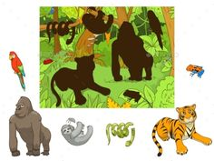 Jungle Animals Cartoon Educational Game by AlexanderPokusay Jungle animals cartoon educational game colorful funny hand drawn vector illustration Toddler Learning Activities, Montessori Activities, Book Activities, Rainforest Animals, Jungle Animals, Animal Matching Game, Quiet Book Templates, Preschool Colors, Animal Puzzle