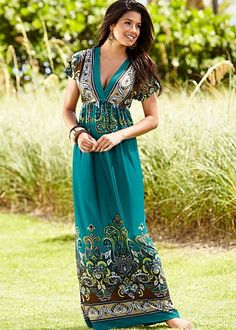 Teal Multi (TLMU) V-Neck Print Maxi Dress $39