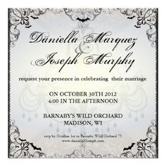 57 best halloween wedding invitations images on pinterest fancy gothic bats halloween wedding invitation filmwisefo