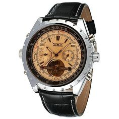 Sports Army Men's Top Luxury Brand Watches WINNER Leather Strap Tourbillon Mechanical Automatic Wrist Watches for Mens Calendar