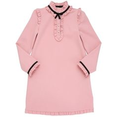 Gucci Kids-girls Wool Blend Milano Jersey Dress ($575) ❤ liked on Polyvore featuring powder pink