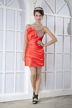 Sheath/Column Sweetheart Satin Mini/Short Pleating Color Wedding Dress