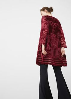 Latest trends in women's fashion. Discover our designs: dresses, tops, jeans, coats and shirts. Sheer Fabrics, Get Dressed, Kaftan, Mango, Fall Winter, Bell Sleeve Top, Dress Up, Bohemian, Velvet