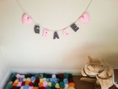 Personalised name banner – felt bunting – nursery garland – heart wall hanging letters – made to order – child's bedroom decoration  This listing is for 1 felt letter to make up the name garland. Please select the correct quantity of letters you would like to order. Every order includes two hearts. If you have a different request please contact me and I will try my best to accommodate. This perfect addition to any nursery. Fantastic unique gift for family and friends for birthdays, christmas…