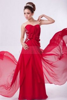 Romantic Draped Strapless Red Chiffon Prom/Evening Dress with Flowers and Crystals JSLD0055